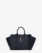 SAINT LAURENT MONOGRAMME TOTE D small downtown cabas bag in navy blue leather and suede f