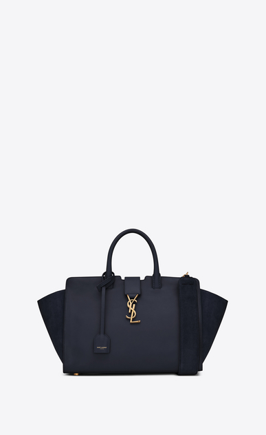 SAINT LAURENT MONOGRAMME TOTE Woman small downtown cabas bag in navy blue leather and suede a_V4