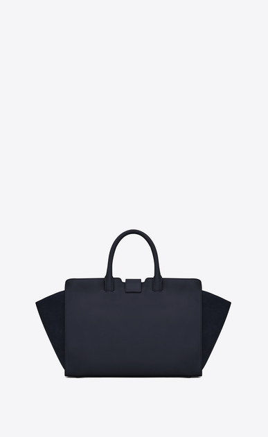 SAINT LAURENT MONOGRAMME TOTE Woman small downtown cabas bag in navy blue leather and suede b_V4