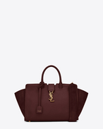 SAINT LAURENT MONOGRAMME TOTE D Small MONOGRAM SAINT LAURENT DOWNTOWN CABAS YSL Bag in Dark Red Leather and Suede f