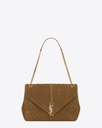 SAINT LAURENT Monogram envelope Bag D Grand satchel MONOGRAMME SAINT LAURENT en suède matelassé mélangé ocre clair f