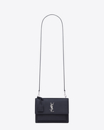 SAINT LAURENT Sunset D sac medium sunset en cuir grainé bleu marine et noir f