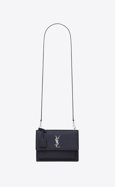SAINT LAURENT Sunset D medium sunset satchel in navy blue and black grained leather a_V4