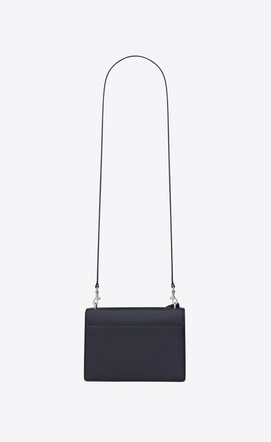 SAINT LAURENT Sunset D medium sunset satchel in navy blue and black grained leather b_V4