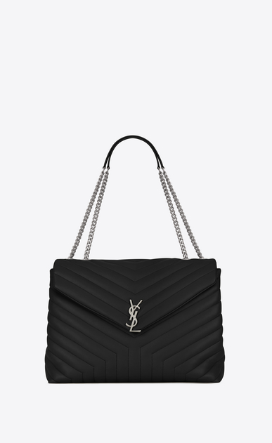 "SAINT LAURENT Monogramme Loulou D large loulou chain bag in black ""y"" matelassé leather a_V4"