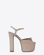 SAINT LAURENT Betty Shoes D Betty 80 Sandale aus antikisiertem rosafarbenem Veloursleder mit Schleife f