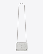 SAINT LAURENT Sunset D Sunset Monogram Saint Laurent Portemonnaie mit Kette aus silberfarbenem Craquelé-Leder mit Metallic-Finish f