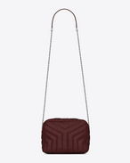 "SAINT LAURENT Monogramme Loulou D classic small loulou bowling bag in dark red ""y"" matelassé leather f"