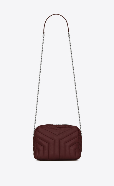 "SAINT LAURENT Monogramme Loulou D classic small loulou bowling bag in dark red ""y"" matelassé leather a_V4"