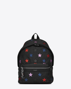 SAINT LAURENT City Backpack D Mini CITY CALIFORNIA Backpack in Black Leather and Multicolor Glitter f