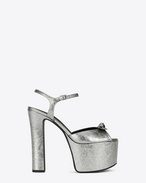 SAINT LAURENT Betty Shoes D Betty 80 Sandale aus silberfarbenem Metallic-Leder mit Schleife f