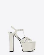 SAINT LAURENT Betty Shoes D BETTY 80 T Strap Sandal in Dove White Leather f