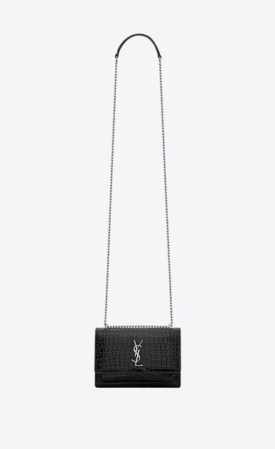 SAINT LAURENT Mini bags sunset Woman sunset chain wallet in black crocodile embossed shiny leather a_V4