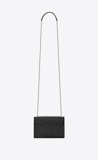 SAINT LAURENT Mini bags sunset Woman sunset chain wallet in black crocodile embossed shiny leather b_V4