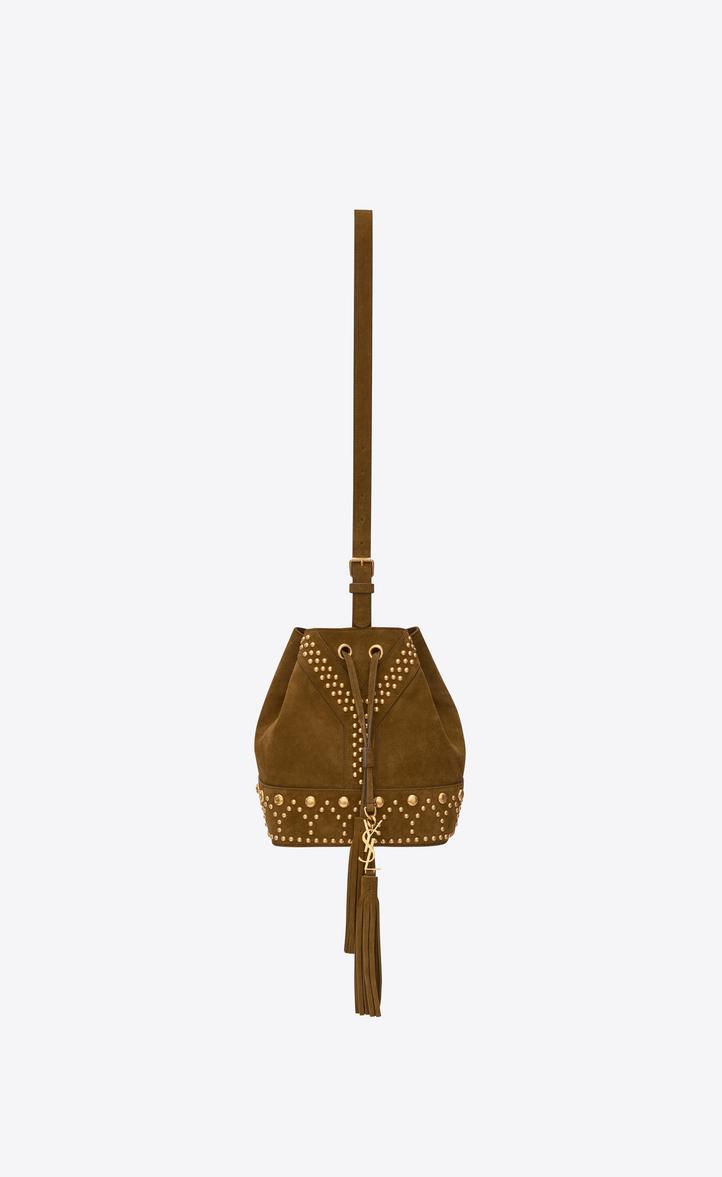 4c80b45daaee Saint Laurent Small Y STUDS Bucket Bag In Cognac Suede And Gold ...
