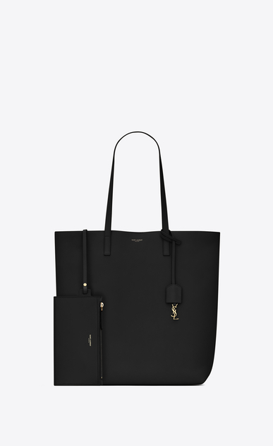SAINT LAURENT Shopping Saint Laurent E/O Femme sac cabas shopping en cuir noir b_V4