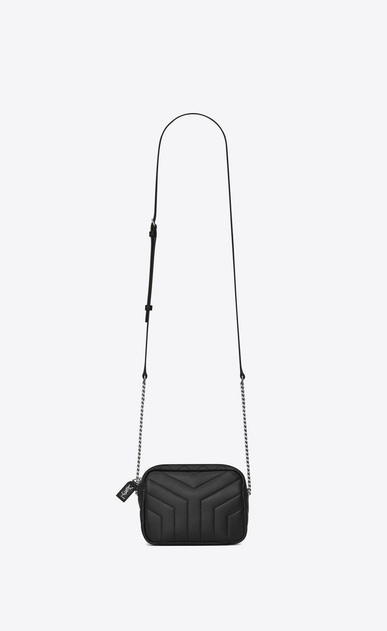 """SAINT LAURENT Monogramme Loulou D classic toy bowling bag in black """"y"""" matelassé leather a_V4"""