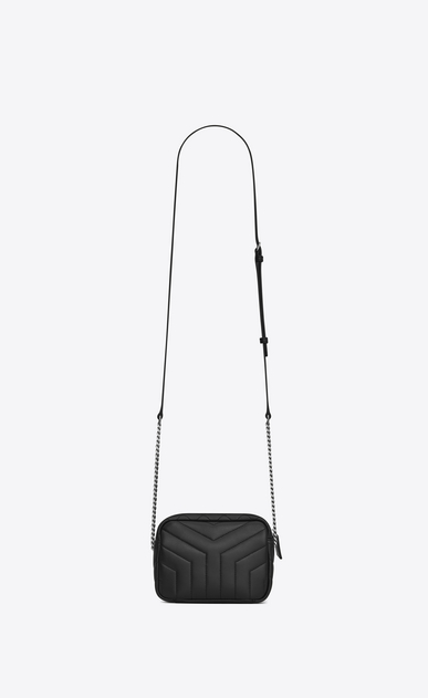 """SAINT LAURENT Monogramme Loulou D classic toy bowling bag in black """"y"""" matelassé leather b_V4"""