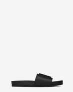 SAINT LAURENT Joan D JOAN 05 Slide Sandal in Black Leather f