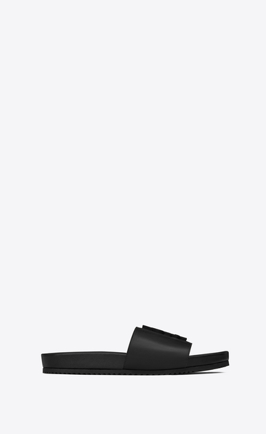 SAINT LAURENT Nu pieds Woman JOAN 05 Slide Sandal in Black Leather a_V4