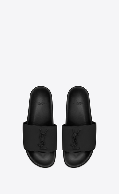 SAINT LAURENT Nu pieds Woman JOAN 05 Slide Sandal in Black Leather b_V4