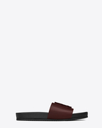 SAINT LAURENT Joan D JOAN 05 Slide Sandal in Dark Red Leather f