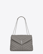 "SAINT LAURENT Monogramme Loulou D medium loulou chain bag in pearl grey ""y"" matelassé leather f"