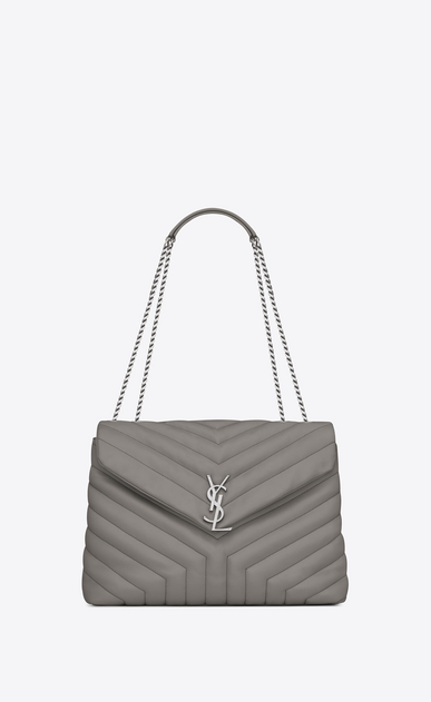 "SAINT LAURENT Monogramme Loulou D medium loulou chain bag in pearl grey ""y"" matelassé leather a_V4"