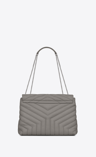 "SAINT LAURENT Monogramme Loulou D medium loulou chain bag in pearl grey ""y"" matelassé leather b_V4"