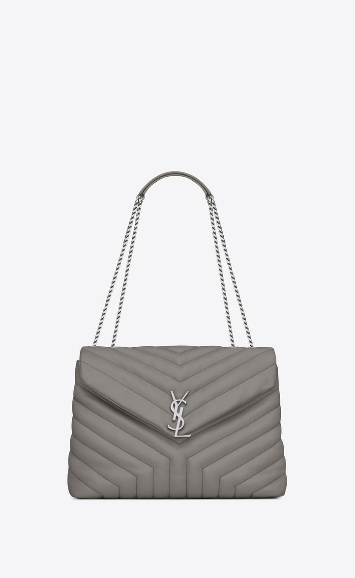 Saint Laurent Medium Loulou Chain Bag In Pearl Grey