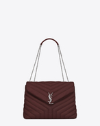 "SAINT LAURENT MONOGRAMME SLOUCHY D medium loulou monogram saint laurent chain bag in dark red ""y"" matelassé leather f"
