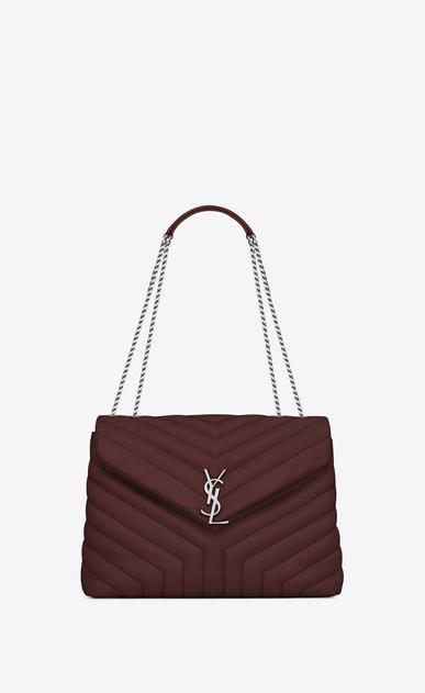 "SAINT LAURENT Monogramme Loulou D medium loulou chain bag in dark red ""y"" matelassé leather a_V4"