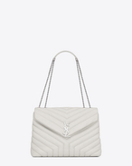 "SAINT LAURENT Monogramme Loulou D medium loulou chain bag in dove white ""y"" matelassé leather f"