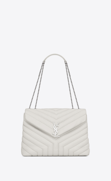 "SAINT LAURENT Monogramme Loulou D medium loulou chain bag in dove white ""y"" matelassé leather a_V4"