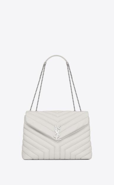 SAINT LAURENT Monogramme Loulou D sac medium loulou à chaine en cuir matelassé «y» blanc grisé v4