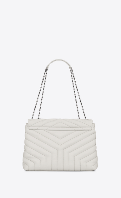"SAINT LAURENT Monogramme Loulou D medium loulou chain bag in dove white ""y"" matelassé leather b_V4"