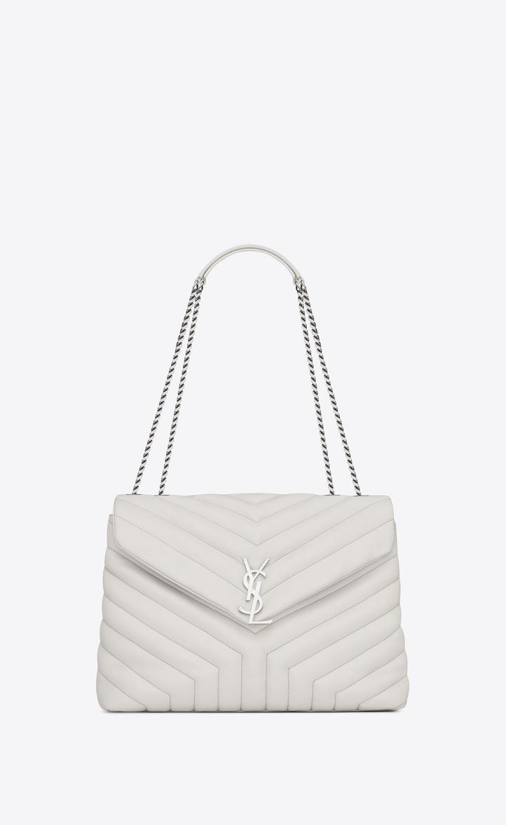 73cd1225 Saint Laurent Medium Loulou Chain Bag In Dove White