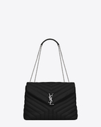 "SAINT LAURENT Monogramme Loulou D medium loulou monogram chain bag nera in pelle ""y"" matelassé f"