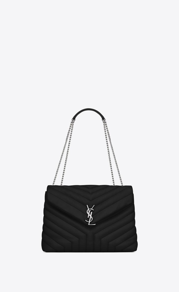 Medium Loulou Bag In Black Y Matelassé Leather