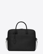 SAINT LAURENT Business U classic duffle small briefcase in black grained leather f
