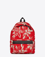 SAINT LAURENT Backpack U Zaino CITY rosso e avorio con stampa a motivo Hawaiian Hibiscus in twill di tela e nero in pelle f