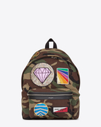 SAINT LAURENT Backpack U CITY Multi-Patch Backpack in Camouflage Cotton Gabardine and Black Leather f