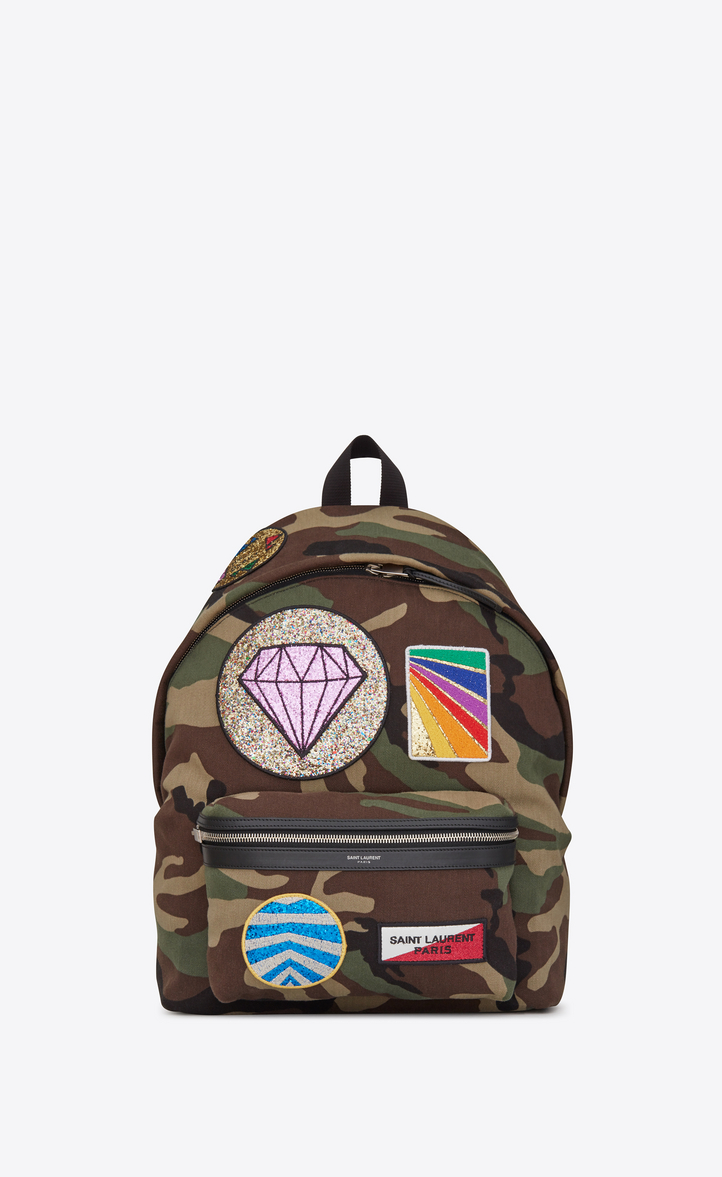 CITY Multi-Patch Backpack in Camouflage Cotton Gabardine and Black Leather 20a45c059d