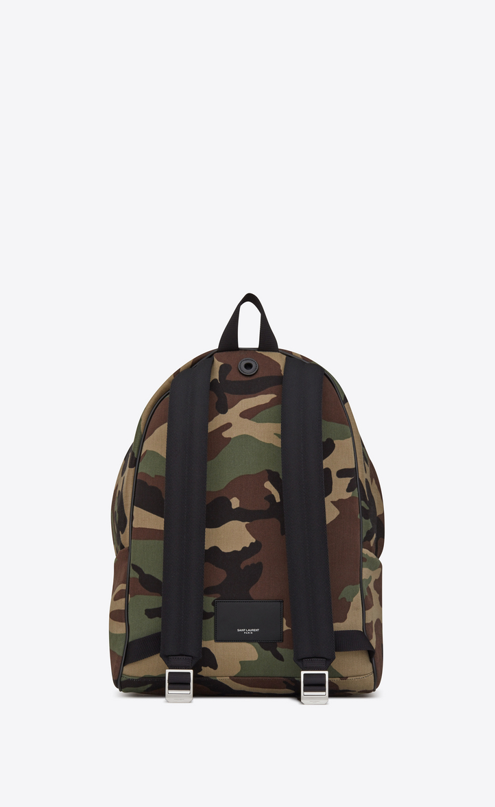 393be3a23ef Zoom  CITY Multi-Patch Backpack in Camouflage Cotton Gabardine and Black  Leather