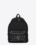 SAINT LAURENT Backpack U CITY Backpack in Black and White Star Printed Canvas Twill and Black Leather f