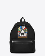 "SAINT LAURENT Backpack U CITY ""SWEET DREAMS"" Patch Black Canvas Twill and Black Leather f"