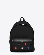 SAINT LAURENT Backpack U CITY CALIFORNIA Stars Backpack in Black Canvas Twill, Multicolor Glitter and Black Leather f