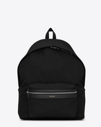SAINT LAURENT Giant Backpacks U Zaino giant CITY nero in twill di tela e pelle f