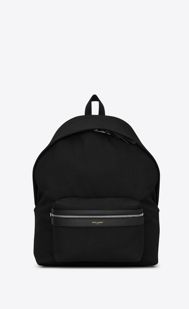 SAINT LAURENT Giant Backpacks U giant city backpack in black canvas nylon and leather a_V4