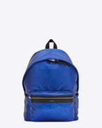 SAINT LAURENT Backpack U Zaino CITY blu in pelle metallizzata screpolata e nero in pelle f